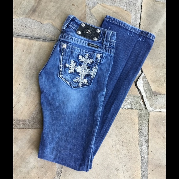 Miss Me Denim - MISS ME JP5398B Snowflake Boot Cut Jeans